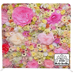 Flower Wall Look Backdrop, for our open style party photo booth.
